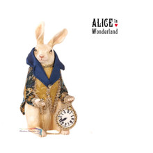 Rabbit Holding Clock Table Display