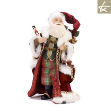 Katherine's Collection Tartan Tradition Santa doll display, handmade and hand painted with lavish velvet material.