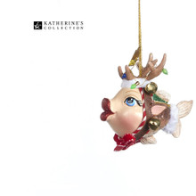 Katherine's Collection Kissing Fish Reindeer Tree Decoration Size 10cm