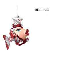 Katherine's Collection 2018 Peppermint Candy Kissing Fish Tree Ornament 14cm