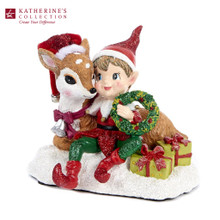 ELF W/DEER FRIEND TT RD/GRN 19CM