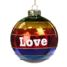 Handmade Glass Love Rainbow Tree Bauble