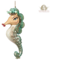 SHELL SEAHORSE ORN PNK/GRN 16CM