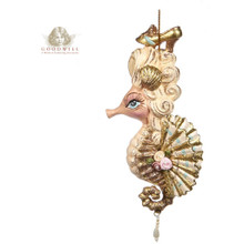 MARIE ANT.SEAHORSE ORN / GLD/CRM 16,5CM