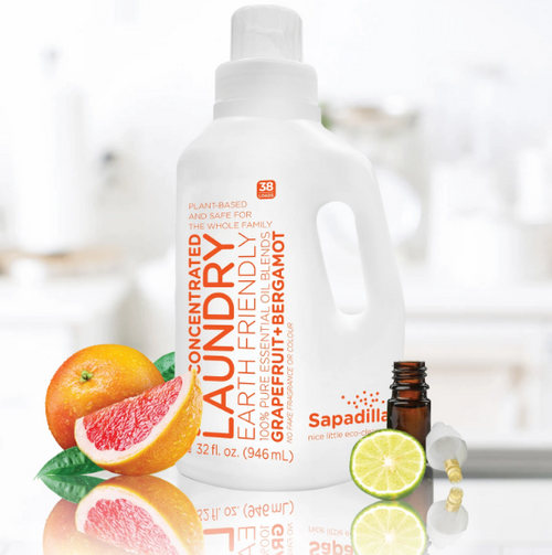 LOADS of freshness in every wash Yay! It's laundry day. This nice little, biodegradable and earth friendly liquid packs in all sorts of goodness and leaves out the harsh chemicals. You will find loads of plant-based ingredients that get clothes clean and fresh. Perhaps best of all, it'll fill the laundry room with the beautiful aroma of natural essential oils. Who knew cleaning could be such a beautiful thing?
