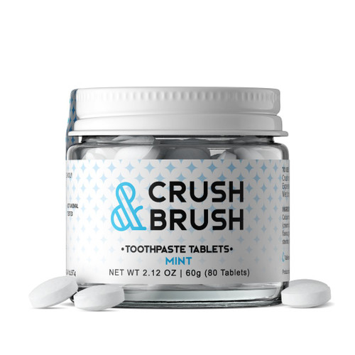Raise your hand if you're trying to reduce plastics in your life … Raise your hand if your toothpaste still comes in a plastic tube … ok, hands down and say hello to Crush & Brush!  A mess-free, convenient, portable and perfectly portioned toothpaste tablet.  Lightweight, perfect for travel or to brush on the go.  Twice the size of other toothpaste tablets, you will only need one to get your teeth squeaky clean.  Fluoride free Vegan Gluten Free Ingredients: Calcium carbonate, sodium bicarbonate, xylitol, potassium bitartrate (cream of tartar), *spearmint flavour, *peppermint flavour, gum arabic, sel marin (sea salt), menthol, magnesium stearate, silica. *organic ingredient