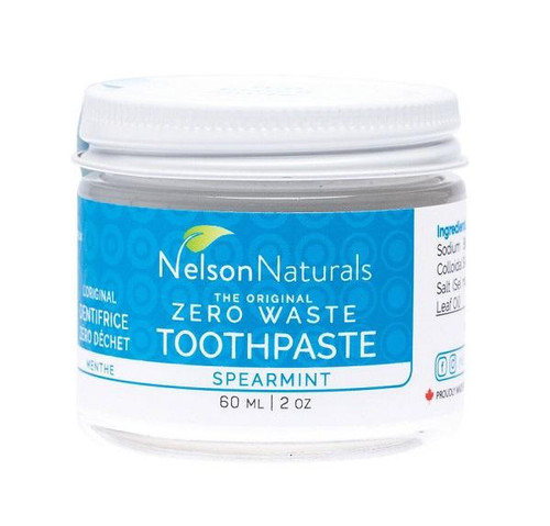 The classic toothpaste flavour for the ultimate fresh breath! No funny business here. Slightly less sweet than our other formulas, the Spearmint toothpaste packs a punch.  Does not contain glycerin, SLS or Fluoride.