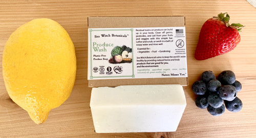 Clean off that grime! Removing nasties (natural or otherwise) from your produce has never been easier or more fun. This organic coconut-based soap works great for scrubbing off wax, microbes, soil, and worst of all- residual pesticides from your delicate fruits and veggies.