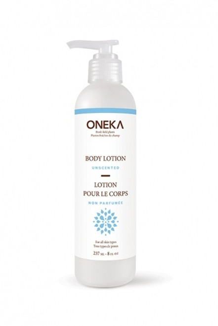 Unscented Body Lotion by Oneka.  Product is sold in bulk refillable and reusable containers.