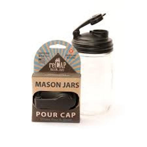Make Mason jars more useful with reCAP! This multi-functional, reusable cap fits Wide mouth Mason jars. Perfect for on-the-go drinks and snacks, reCAP POUR can be used for convenient storage and home organization. Get the party started after canning season and say good-bye to rusty lids! Shake, Pour, & Store! reCAP fits all standard size Mason jars. Do not place in microwave. Jars not included. Not for canning.