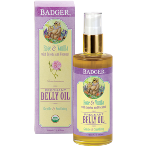 Pamper your evolving body with this wonderfully luxurious Pregnant Belly Oil. Lightly fragranced with the natural aroma of rose and vanilla, this gentle blend of pure organic plant extracts and emollient-rich essential oils helps to relieve your dry, tight, and stretched pregnant belly skin. Jojoba and coconut moisturize and nourish. Sunflower and calendula soften and soothe. Perfect for daily use or an indulgent massage—ideal after a bath or shower to help lock in moisture and maintain skin's elasticity and softness. Absorbs quickly and is non-greasy. Hypoallergenic and suitable for all skin types.