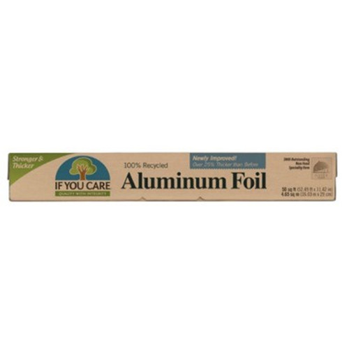 If You Care Recycled Aluminum Foil is made from 100% recycled aluminum.  It can be recycled again and again.  Features:  100% recycled aluminum  95% energy savings  Can be recycled over and over again  Minimum waste  Unbleached recycled cardboard packaging  Vegetable-based inks for printing  Non-toxic glues  Cardboard packaging should be recycled  Protects food against light, oxygen, humidity and bacteria  Suitable for vegetarians and vegans  Gluten free  Allergen free  No animal testing  No animal ingredients  50 sq ft