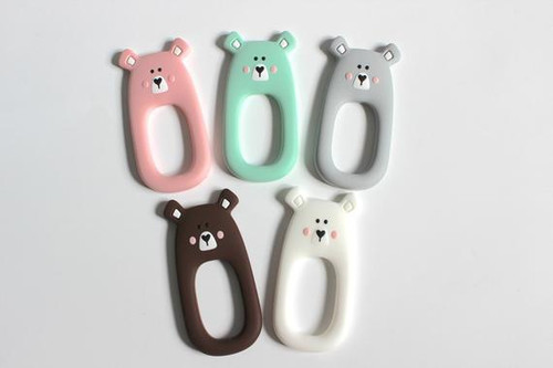 Easy to hold baby silicone bear teether toy. Made with 100% food grade silicone.
