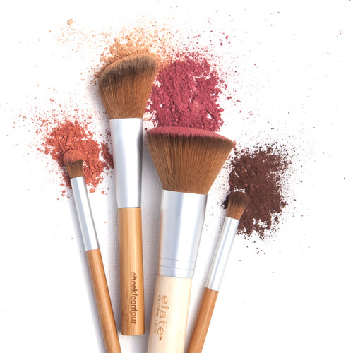 Elate- Elevate your vegan beauty routine with our sustainable and cruelty-free range of tools and brushes.   Handle every makeup task like a pro with our Brush Set, a versatile mix of our face and eye brushes for use with liquids, creams and powders. The collection makes colour placement and blending a breeze, with brushes ranging from our plush Multi-Use Brush to the most precise Brow Brush.   Choose from a complete set with our Bamboo Canister or from a set with 5 Bamboo Brushes. makeup, clean beauty