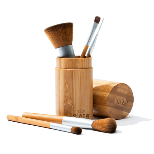 Elevate your vegan beauty routine with our sustainable and cruelty-free range of tools and brushes.   Handle every makeup task like a pro with our Brush Set, a versatile mix of our face and eye brushes for use with liquids, creams and powders. The collection makes colour placement and blending a breeze, with brushes ranging from our plush Multi-Use Brush to the most precise Brow Brush.   Choose from a complete set with our Bamboo Canister or from a set with 5 Bamboo Brushes.