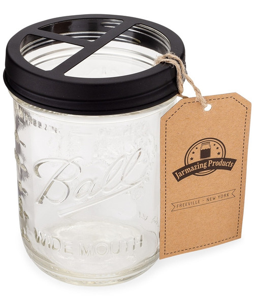 Made out of durable, rust-proof Stainless Steel. Works with any wide mouth mason jar with 3-3/8 inch diameter top - Will not fit the smaller, regular mouth mason jars. Three large compartments fit most sizes of toothbrushes, toothpaste tubes, flossers, razors and more.