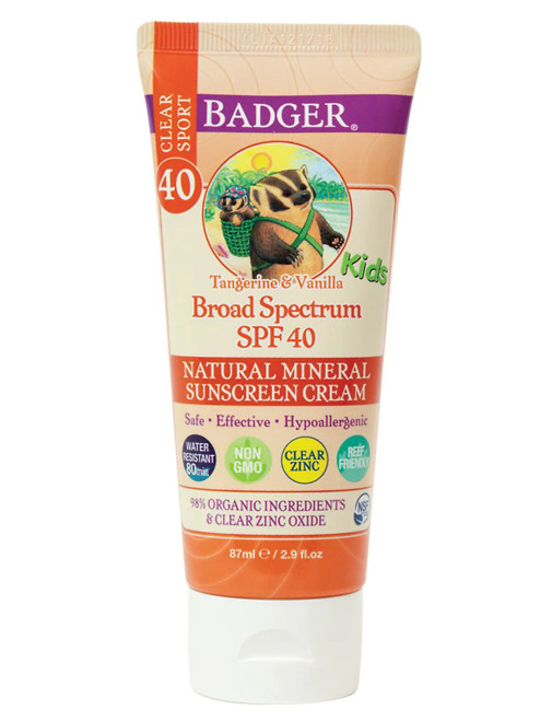Kids (and adults) will love the yummy creamsicle smell of this SPF 40 sunscreen cream with tangerine and vanilla. It is hypoallergenic, non-phototoxic and safe for sensitive skin. Reef friendly and biodegradable, no oxybenzone, no octinoxate.