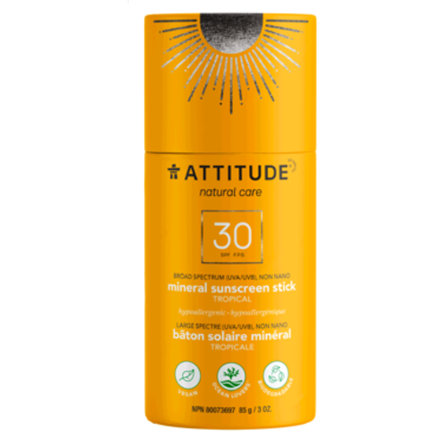 Attitude created a range of sunscreen sticks that feature an innovative biodegradable cardboard applicator following their engagement to reduce single use plastic in everyday lives. This premium on-the-go stick, glides on smoothly to offer the same great sun protection as our other sunscreens with a practical mess-free on-the-go format.