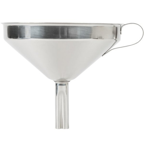 Ideal for filling dishes, bottles, flasks, glasses and other canisters Durable stainless steel, easy to clean, with a comfortable side handle