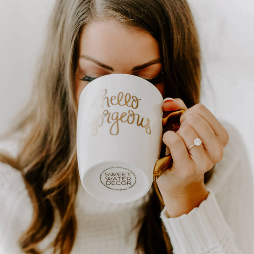 With real gold embellishing the handle and design, our hand lettered mugs are designed to enhance your coffee drinking experience. Sip your favorite tea or coffee in your new high end real gold coffee mug and start your day with a boost of motivation.