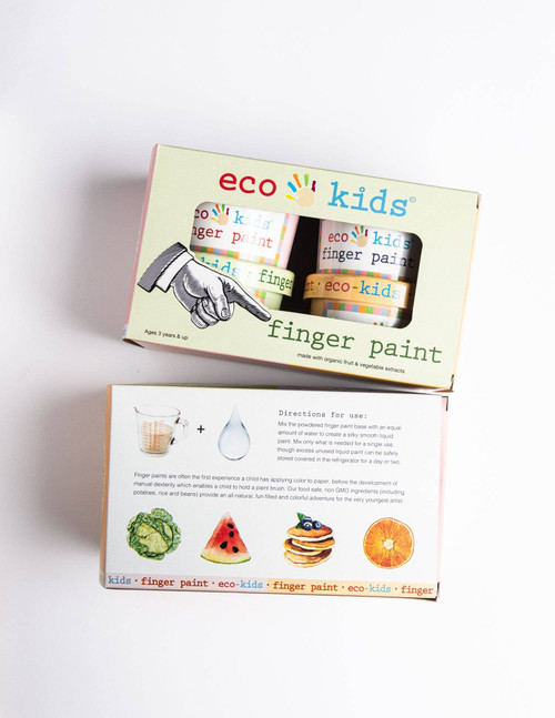 Finger paints are often the first experience a child has applying color to paper, before the development of manual dexterity which enables a child to hold a paint brush.  Our food safe, non GMO ingredients ( including potatoes, rice and beans) provide an all-natural, fun-filled and colorful adventure for the very youngest artist.
