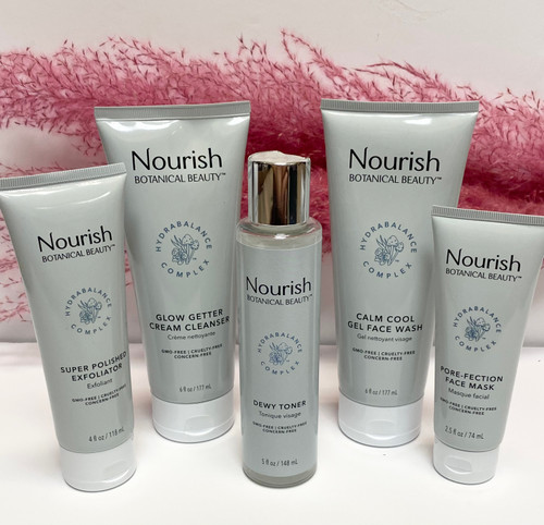 Our favorite Nourish Botanical Beauty products in a beautiful gift box. This set includes: Calm Cool Gel Face Wash 177 ml Glow Getter Cream Cleanser 177 ml Super Polished Exfoliator 118 ml Dewy Toner 148 ml Pore-Fection Face Mask 74 ml