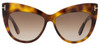 Tom Ford Cateye Sunglasses TF523 Nika 53F Dark Havana FT0523