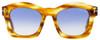 Tom Ford Oval Sunglasses TF431 Greta 41W Brown Striped Honey FT0431