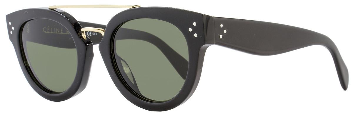 56e717bb50a0 Celine Oval Sunglasses CL41043S 8071E Black Gold 41043