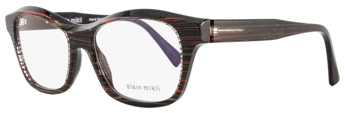 6b562dd569 Alain Mikli Rectangular Eyeglasses A03006 B012 Size  52mm Black Gray Red  Striped 3006