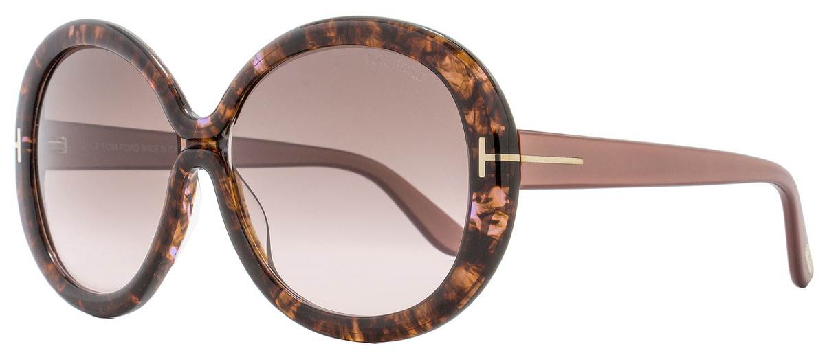 fd74efeaedfb5 Tom Ford Round Sunglasses TF388 Gisella 50F Rose Brown Havana ...