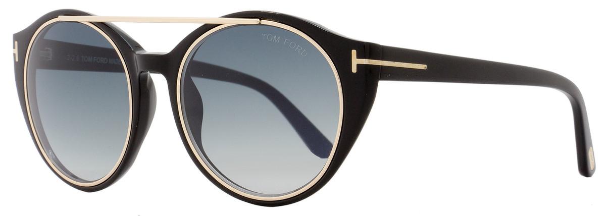 eeca10fc85 Tom Ford Round Sunglasses TF383 Joan 01W Black Rose Gold FT0383