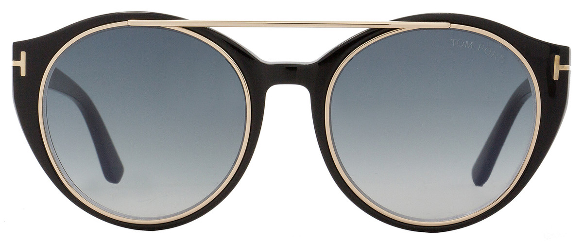 20aae2b9aa47 Tom Ford Round Sunglasses TF383 Joan 01W Black Rose Gold FT0383