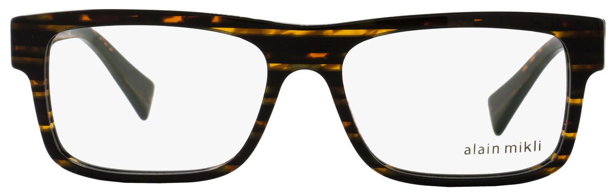 f06d7af69c Alain Mikli Rectangular Eyeglasses A03046 2891 Size  54mm Striped Brown 3046