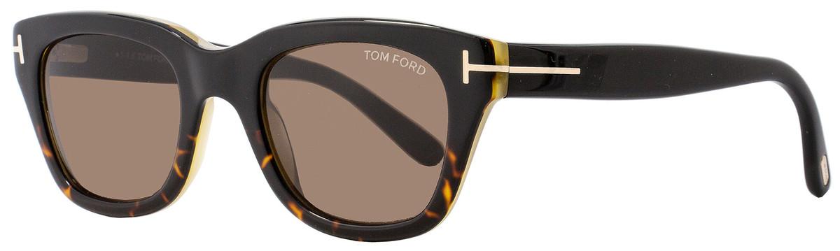 fbcac548fa5c Tom Ford Rectangular Sunglasses TF237 Snowden 05J Black Havana Honey FT0237