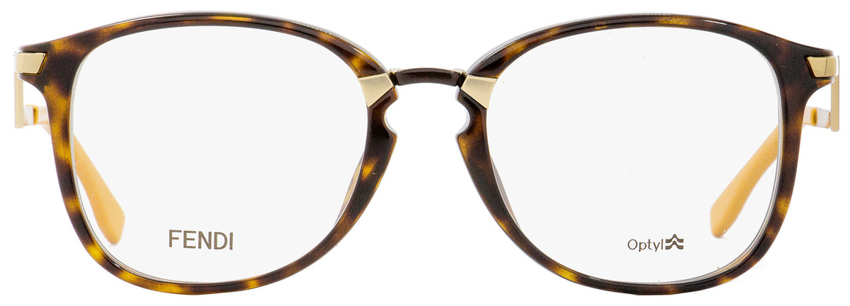 47b90cebb5 Fendi Oval Eyeglasses FF0038 ZCZ Havana Gold Mustard 50mm 038