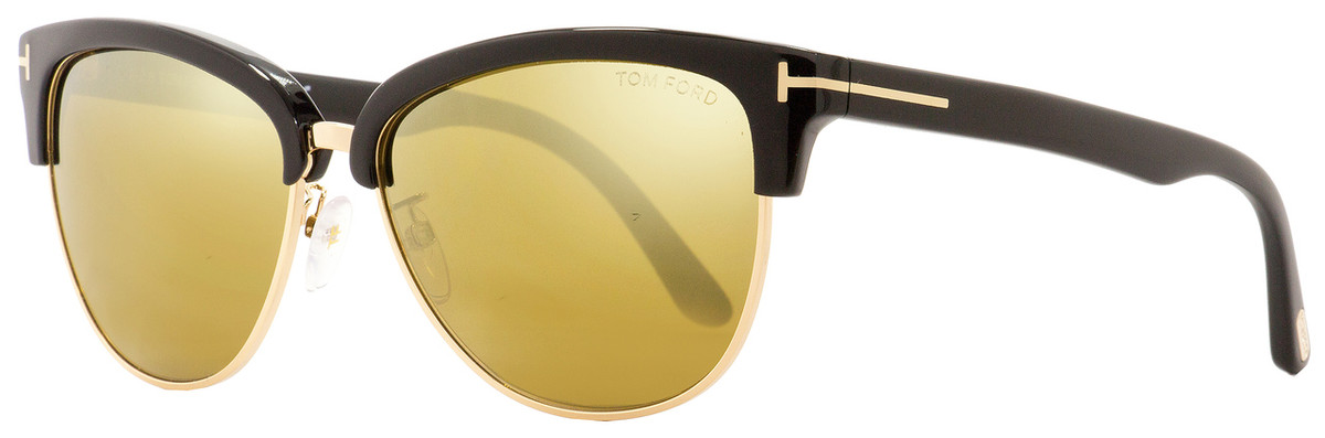 4863dd53f1 Tom Ford Oval Sunglasses TF368 Fany 01G Black Gold 59mm FT0368