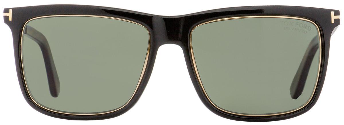 e06f8e57008 Tom Ford Rectangular Sunglasses TF392 Karlie 01R Black Gold Havana Polarized  57mm FT0392
