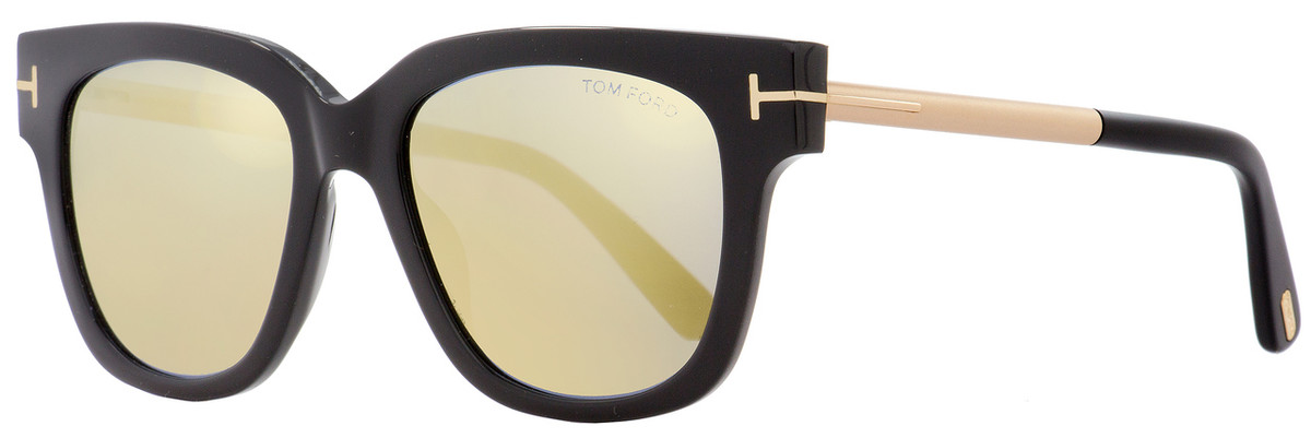f81fdbfa23af Tom Ford Square Sunglasses TF436 Tracy 01C Black Gold 53mm ...