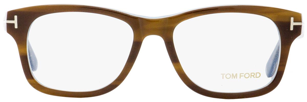 db4ddf26953a2 Tom Ford Rectangular Eyeglasses TF5147 056 Striped Havana Light Blue 52mm  FT5147
