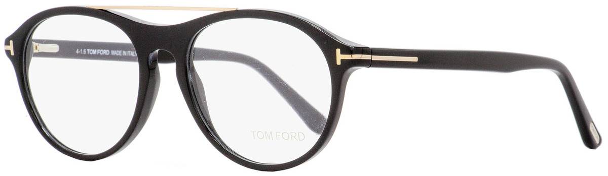 a0615e92f1f92 Tom Ford Oval Eyeglasses TF5411 001 Shiny Black Gold 53mm FT5411