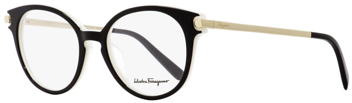 9ce4a1bdbc2 Salvatore Ferragamo Round Eyeglasses SF2764 963 Black Ice Gold ...
