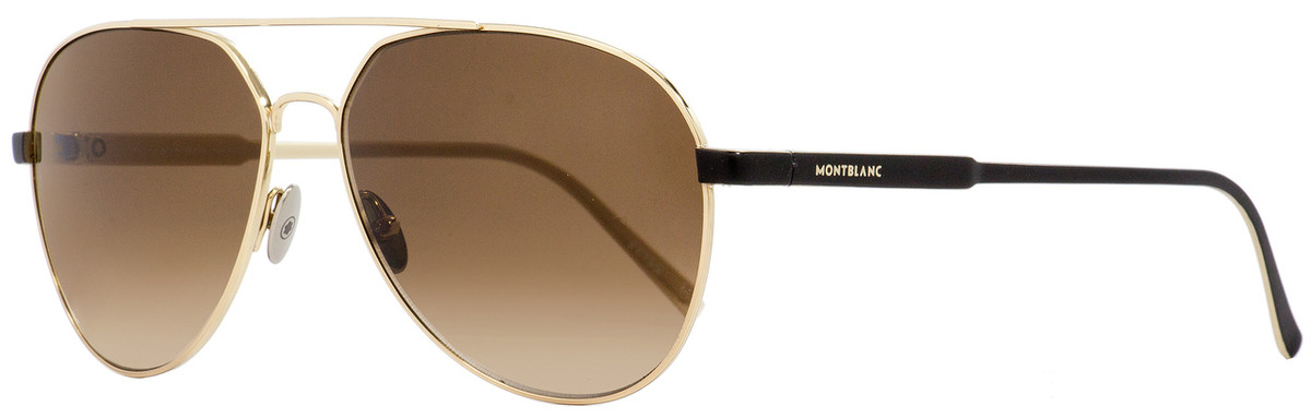 7a281c081988 Montblanc Aviator Sunglasses MB644S 32F Gold/Matte Black 60mm ...