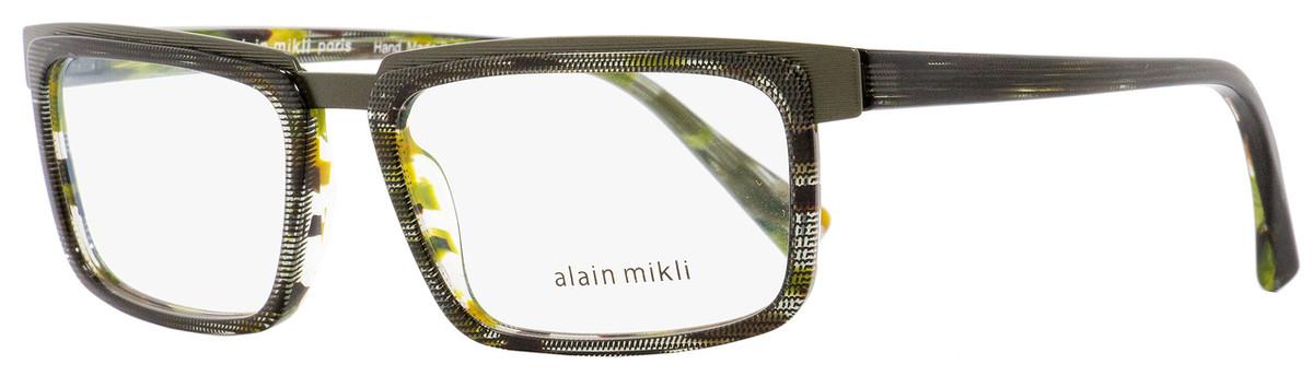 d95fcaf507 Alain Mikli Rectangular Eyeglasses A02016 C014 Green Gray Brown 54mm 2016
