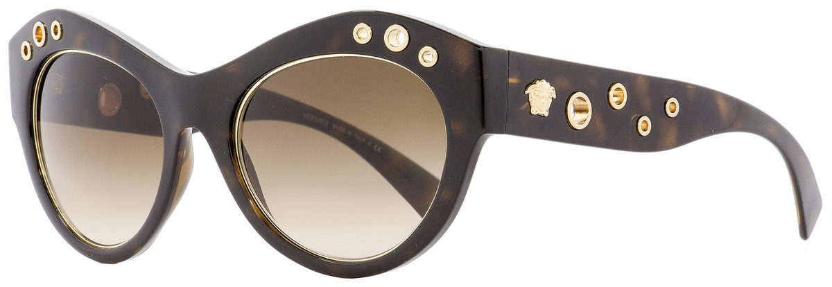 4f013583a1af Versace Oval Sunglasses VE4320 108-13 Havana Gold 54mm 4320