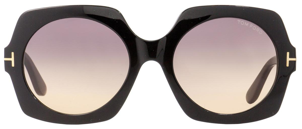 99988ceb10 Tom Ford Square Sunglasses TF535 Sofia 01B Black Gold 57mm FT0535