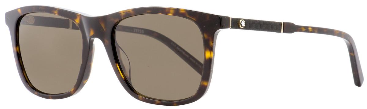 b4d3866797c5 Montblanc Rectangular Sunglasses MB606S 52E Havana Gold 54mm ...