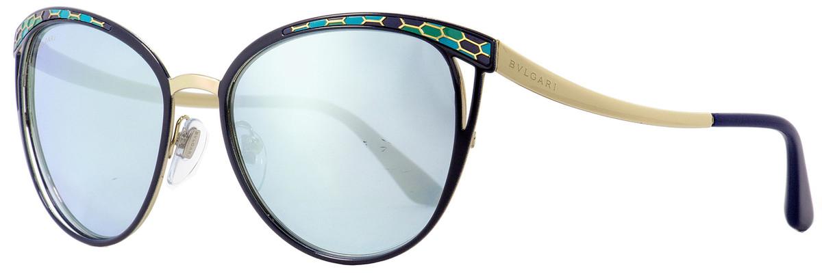 ea6b3c5067e Bulgari Oval Sunglasses BV6083 2020-6J Navy Blue Gold 56mm 6083