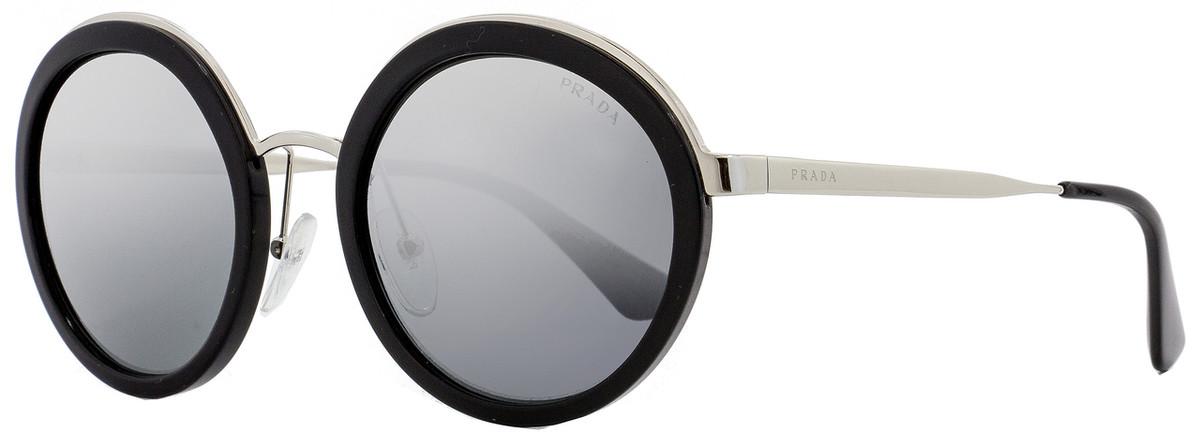 5a2459effce3 Prada Round Sunglasses SPR50T 1AB-6N2 Black/Palladium 54mm ...