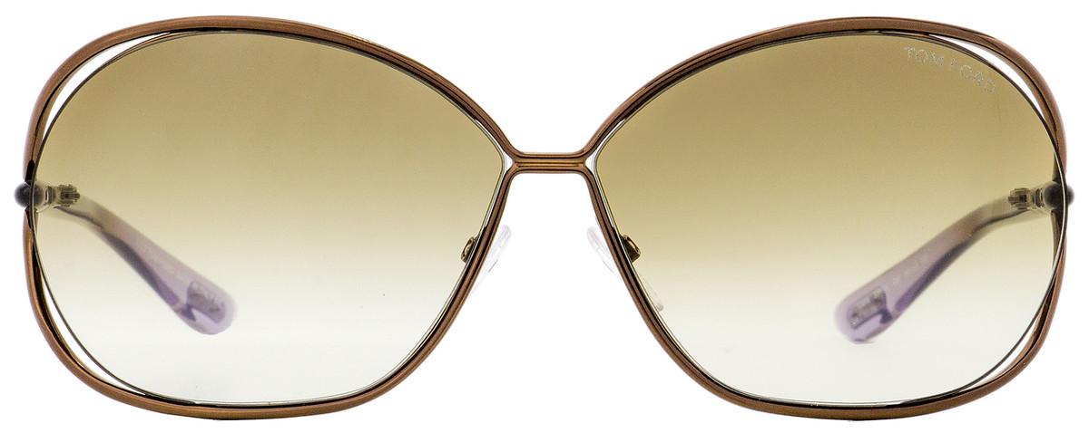 f798b3c4a7e6f Tom Ford Oval Sunglasses TF157 Carla 48F Shiny Brown Lilac 66mm FT0157